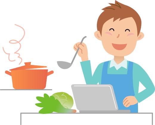 宅配野菜のお試しセットを使って料理するシングルファザー